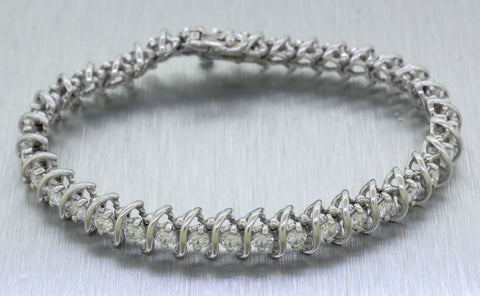 Vintage Estate 14k Solid White Gold 5.50ctw Diamond Tennis Bracelet