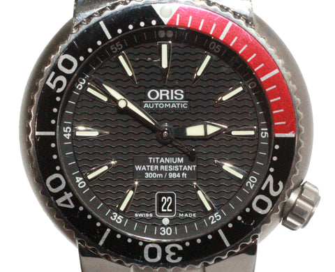 Oris Divers Titan Date 01 733 7541 Titanium Black Dial Watch