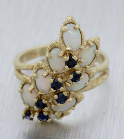 Vintage Estate 14k Solid Yellow Gold 2ctw Opal and Sapphire Cocktail Ring