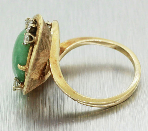 Vintage Estate 14k Solid Yellow Gold Jade & 0.45ctw Diamond Cocktail Ring