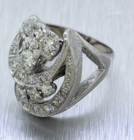 1930s Antique Art Deco 14k Solid White Gold 1.50ctw Diamond Crescent Ring