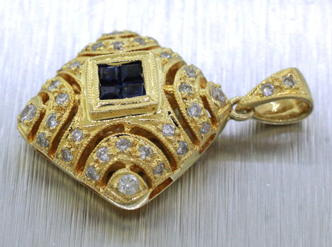 Vintage Estate 18k Solid Yellow Gold 0.30ctw Sapphire & Diamond Square Pendant