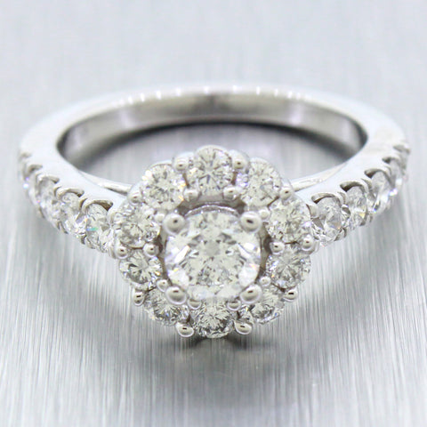 Modern 18k Solid White Gold 2.00ctw Diamond Marchesa Engagement Ring Set