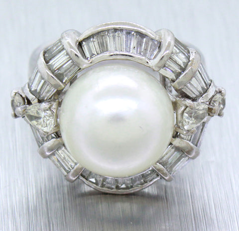 Vintage 18k White Gold 11.63mm Freshwater Pearl & 3.00ctw Diamond Cocktail Ring