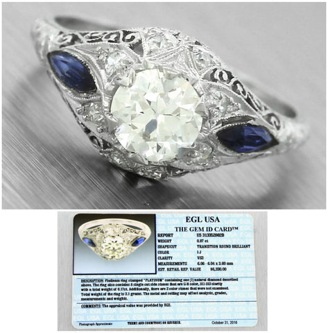 Ladies Antique Art Deco 1.04ctw Diamond Sapphire Platinum Engagement Ring EGL