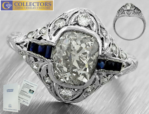 Art Deco Platinum Old Mine Brilliant 2.69ct Diamond Sapphire Engagement Ring