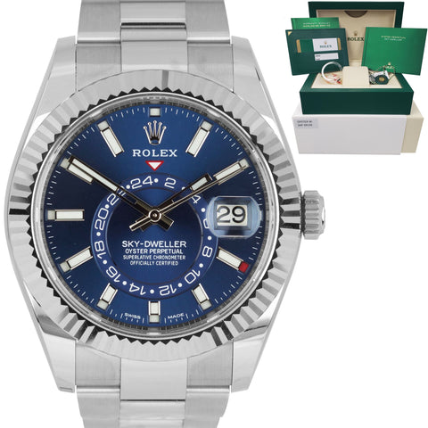 2019 LNIB Rolex Sky-Dweller Stainless White Gold BLUE DIAL 42mm Watch 326934
