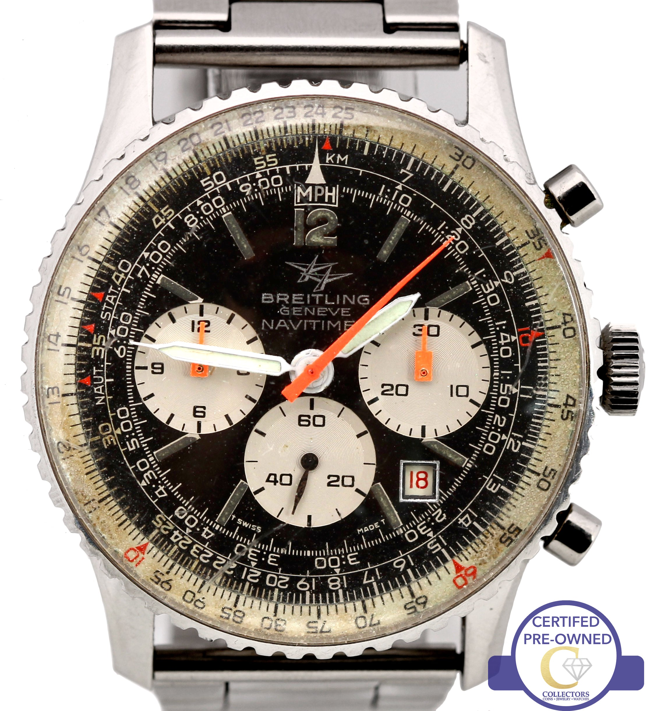 Vintage Breitling Navitimer Chronograph Black 41mm Stainless Steel 8808 Watch