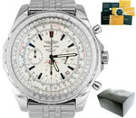 Breitling Bentley Chronograph 2.20ctw Silver Diamond A25363 Steel 48mm Watch