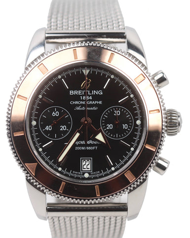 Breitling SuperOcean Heritage Chronograph 44mm U23370 Rose Gold Steel Mesh Watch