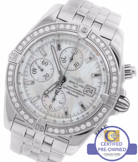 Breitling Chronomat Evolution MOP Diamond Chronograph 44 Stainless A13356 Watch