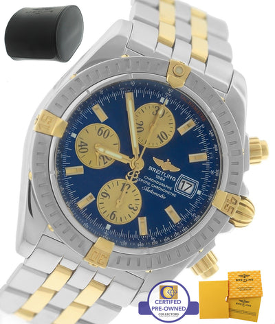 MINT Breitling Chronomat Evolution Chronograph Two-Tone B13356 44mm Blue Watch