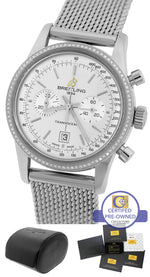 2014 Breitling Transocean Chronograph 38mm Silver Diamond Mesh A41310 Watch