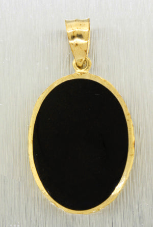 Vintage Estate 14k Solid Yellow Gold Oval Onyx Marlin Fish Pendant