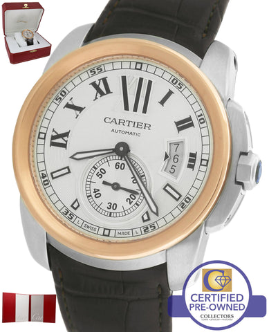 Cartier Calibre W7100039 Silver 42mm Two Tone Rose Gold Brown Leather Watch 3299