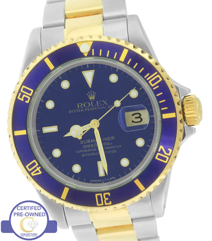 MINT Rolex Submariner Date 16613 T Two-Tone Gold Stainless Blue 40mm Dive Watch