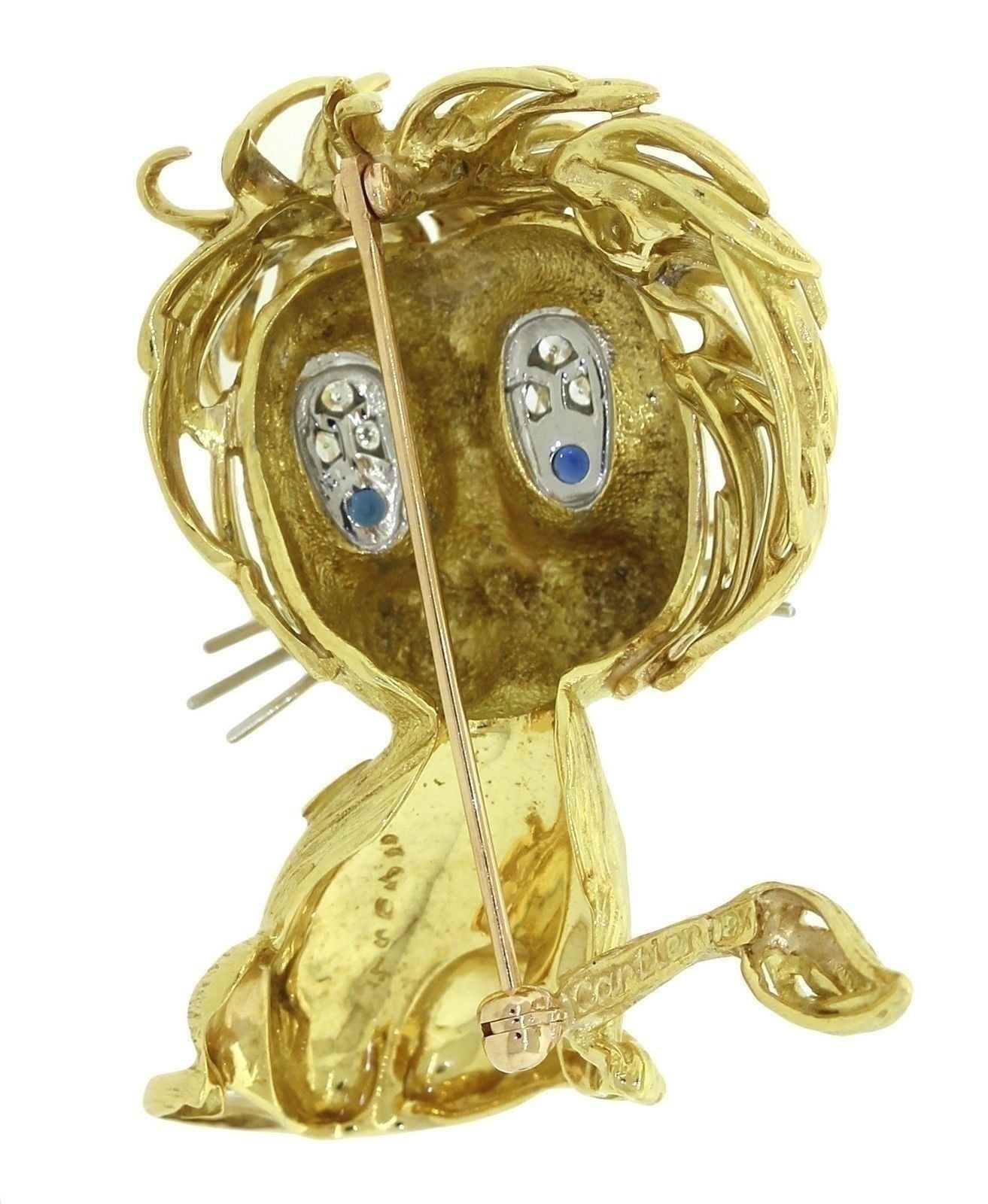 Cartier 18k Yellow Gold .14ctw Diamond & Sapphire Whimsical Lion Cub Brooch Pin