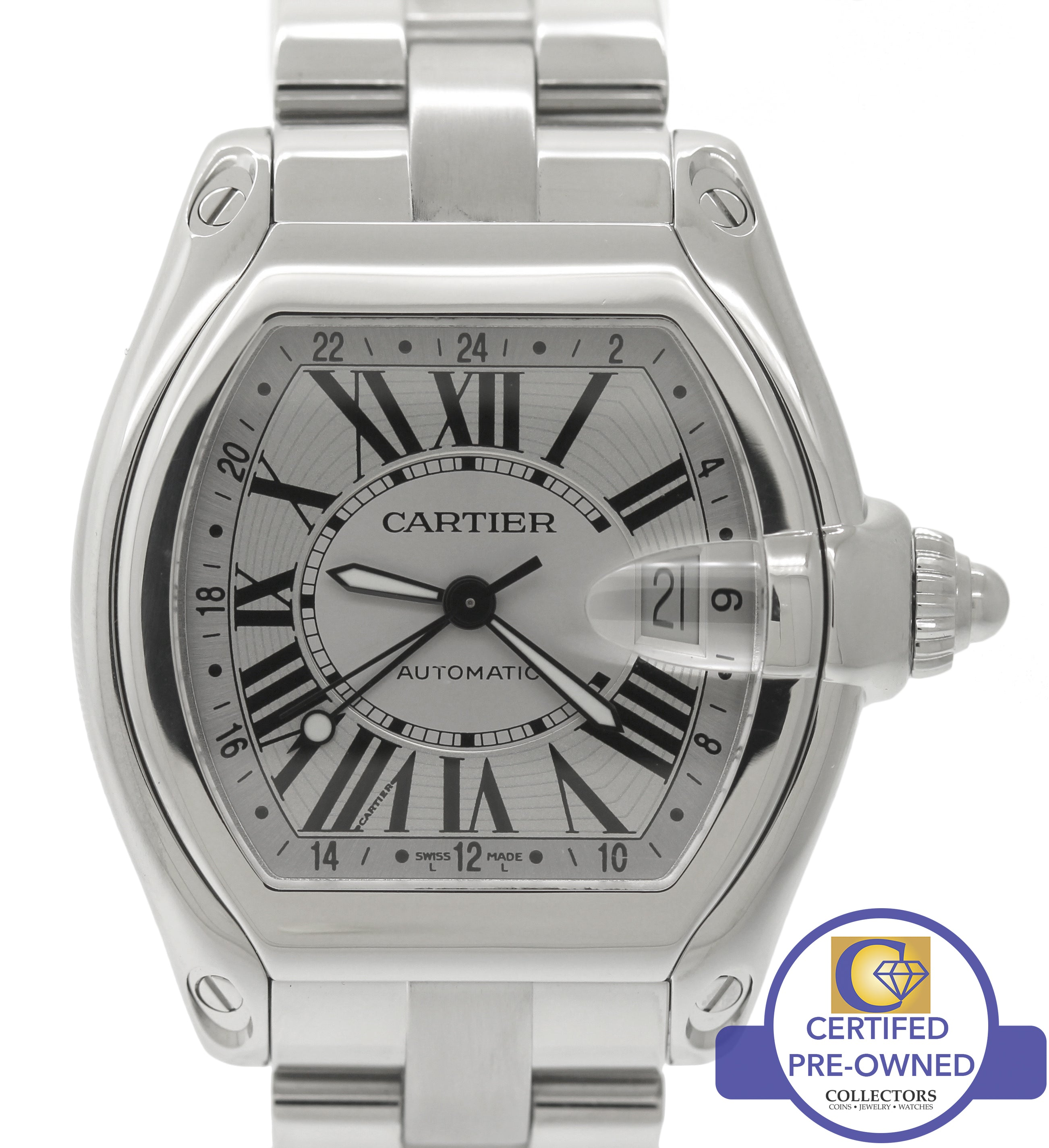 Cartier Roadster XL GMT W62032X6 Silver Roman Automatic Stainless Watch 2722