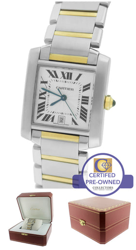 Cartier Tank Francaise Full-Size Auto Two-Tone Gold Date Watch W51005Q4 2302