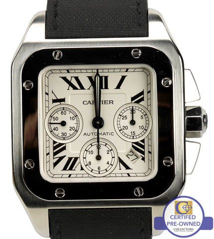 fe4943399aa MINT Men s Cartier Santos 100 XL Chronograph 2740 Ivory 41mm Watch W20090X8