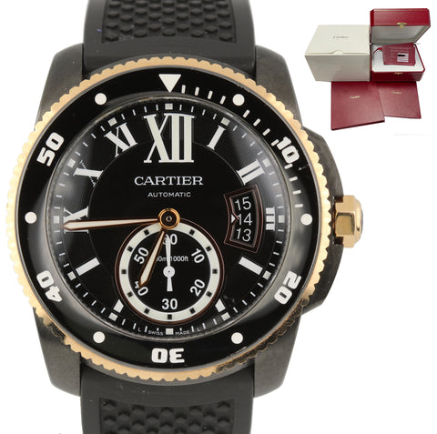 2016 Cartier Calibre Diver Carbon Rose Gold Steel Black 42mm Watch 3729 W2CA0004