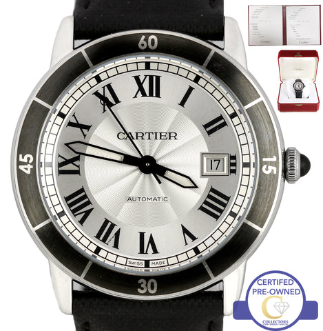 2016 Men's Cartier Ronde Croisiere Silver Roman 42mm Leather Date WSRN0002 3886