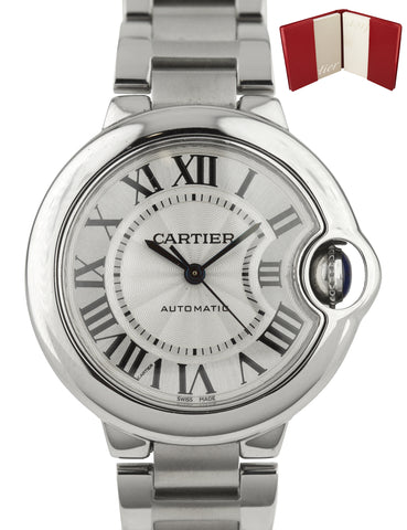 2016 MINT Cartier Ballon Bleu Automatic 33mm Silver Steel W6920071 3489 Watch