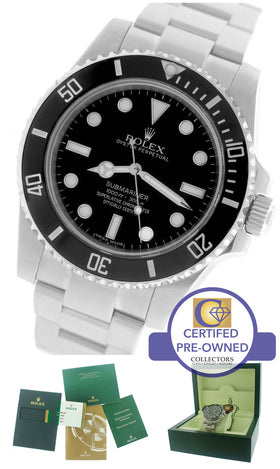 2015 Rolex Submariner No-Date 114060 Stainless Black Dive Ceramic 40mm Watch