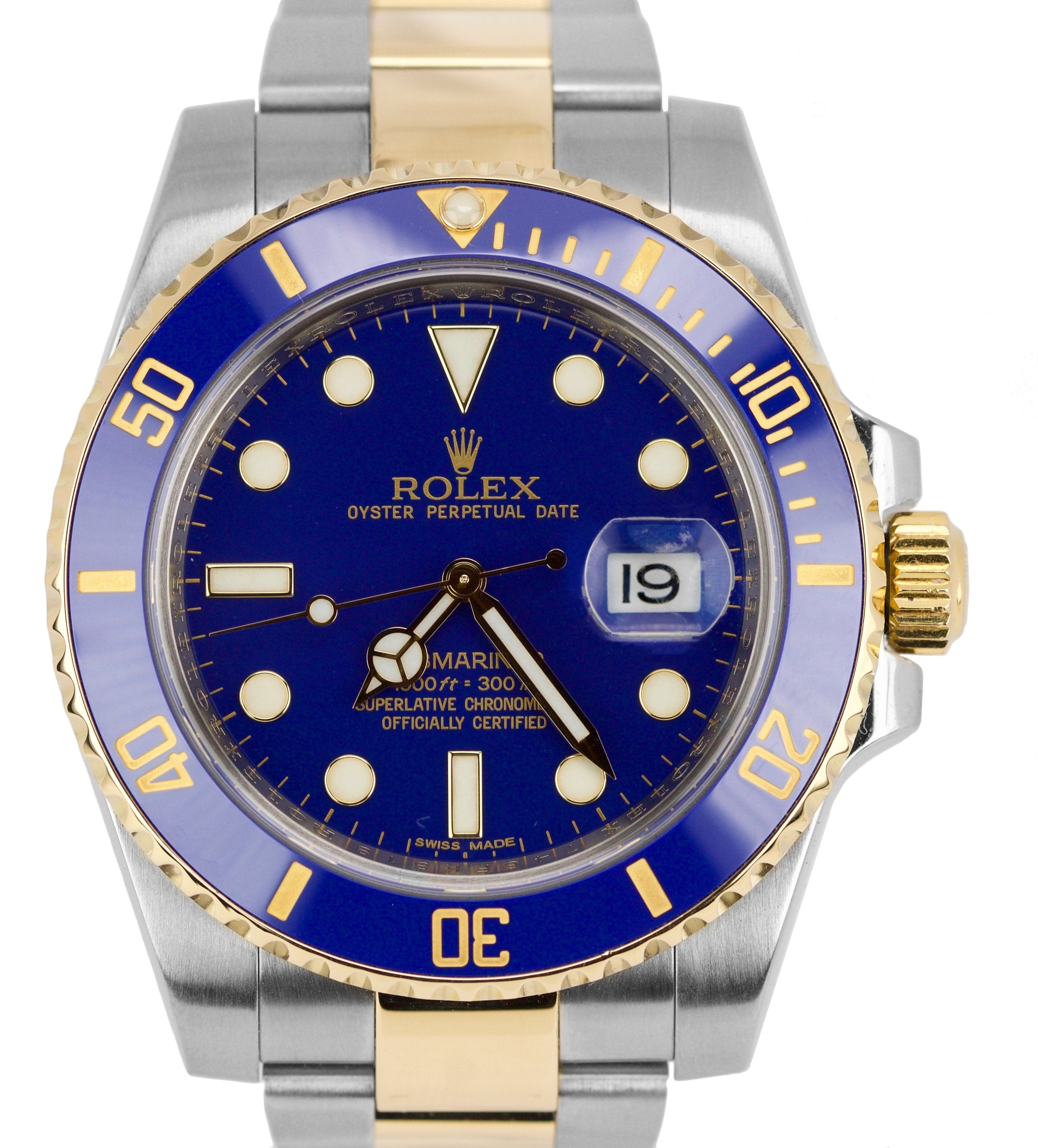2018 PAPERS Rolex Submariner Date Ceramic 116613 Two Tone Gold Blue Dive Watch
