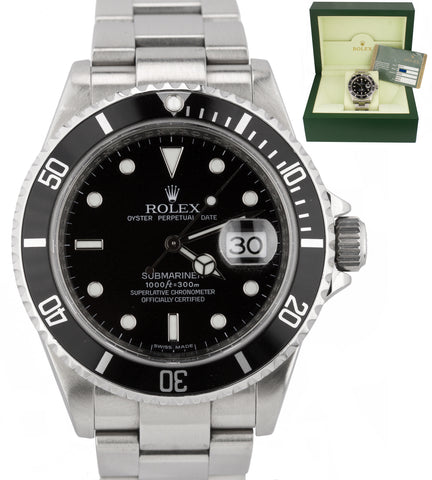 Men's Rolex Submariner Date M SERIAL ENGRAVED 16610 T Stainless Steel Watch
