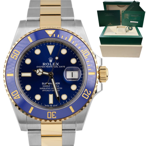 BRAND NEW Rolex Submariner Date 41mm Ceramic Two-Tone Gold Blue Watch 126613 LN