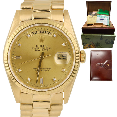 Rolex Day-Date President 36mm Champagne Diamond 18K Gold Presidential 18238