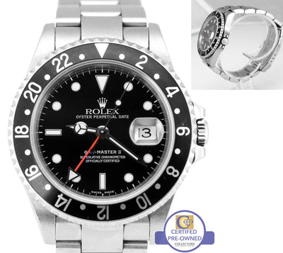 2005 Men's Rolex GMT-Master II 16710 Black F No Holes 40mm Date Stainless SEL