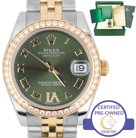 2012 Ladies Rolex DateJust Mid-Size 31mm Olive Diamond 178383 Two Tone Watch