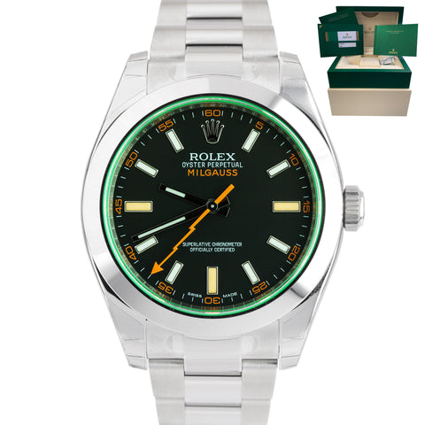JUNE 2020 NEW SEALED Rolex Milgauss Green Anniversary Black 116400 GV / V Watch