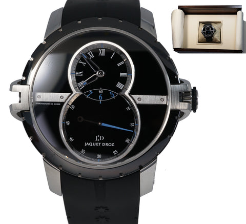 Jaquet Droz Grande Seconde J029030-40 45mm Black Rubber Stainless Steel Watch