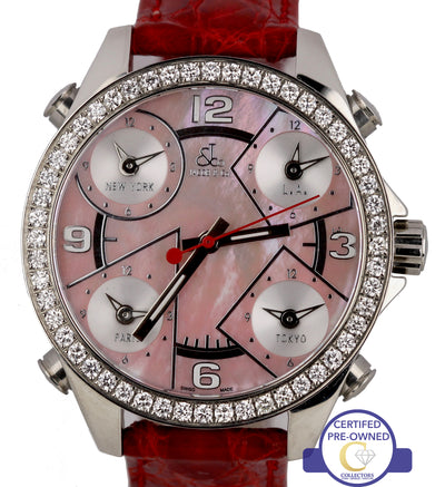 Jacob & Co. Five Time Zones Diamond Pink Mother of Pearl Stainless Steel Watch