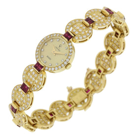 Concord Estate 18k Solid Yellow Gold 3ctw Ruby 3.18ctw Diamond Bracelet Watch