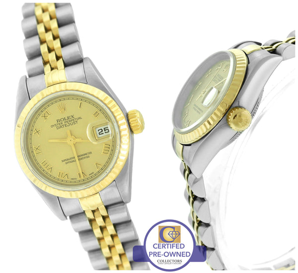 2002 Ladies Rolex DateJust 79173 18K Gold 26mm Roman Champagne Jubilee Watch