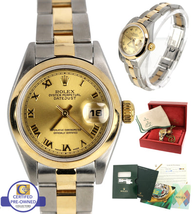 2002 Ladies Rolex DateJust 79163 Two Tone Gold 26mm Champagne Oyster Watch SEL