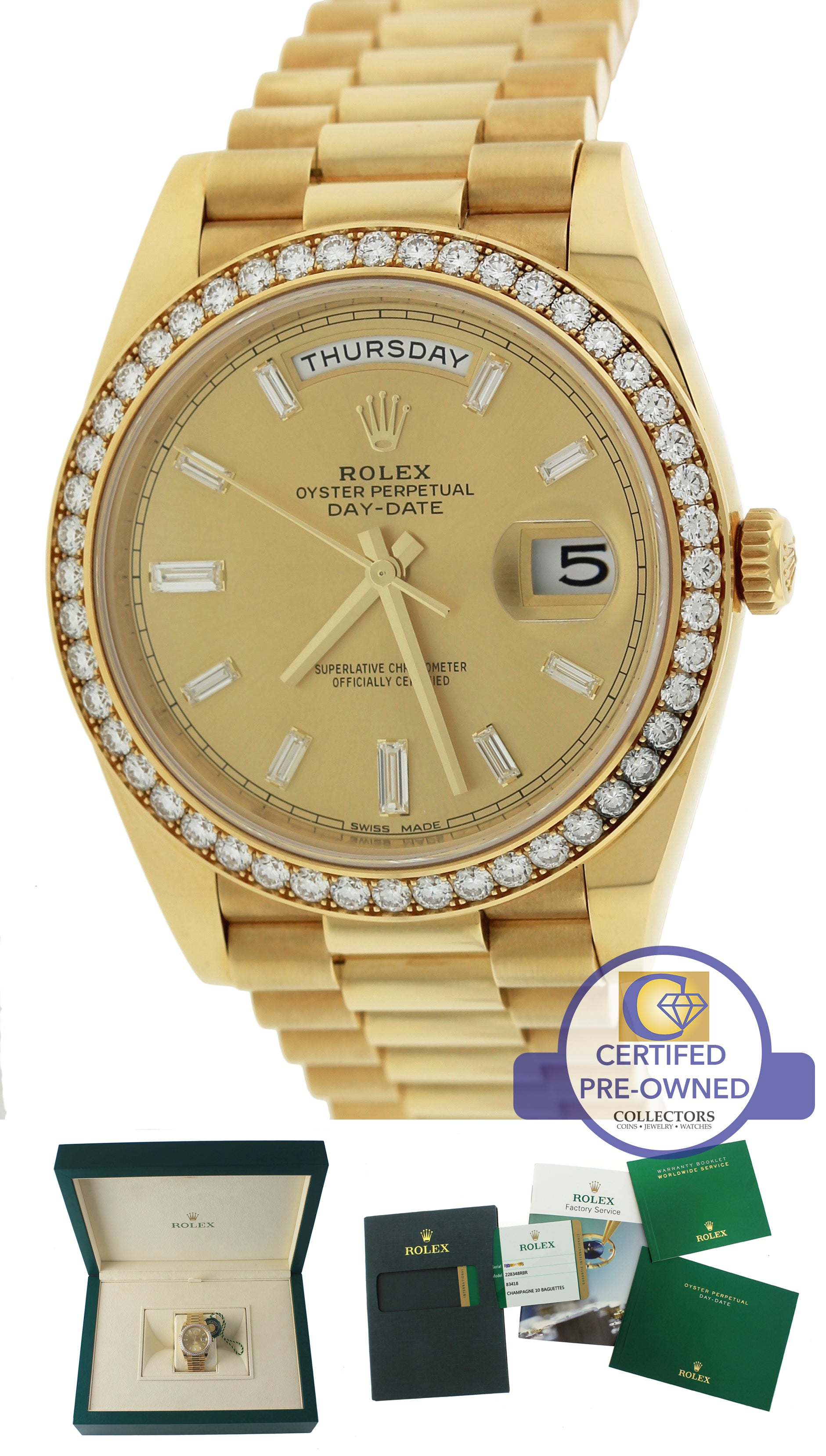 2016 Rolex Day-Date 40 Champagne Diamond 228348 18K Yellow Gold President Watch