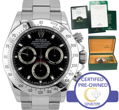 2004 Men's Rolex Daytona Cosmograph F 116520 K Black Stainless Steel 40mm Watch