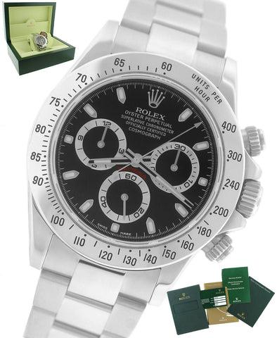 2013 UNPOLISHED BLUE LUME Rolex Daytona Cosmograph 116520 Black 40mm Steel Watch