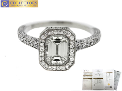 Lavish Ladies Estate Platinum 3.20ctw Emerald Cut Diamond Halo Engagement Ring