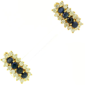 Vintage Estate 14k Solid Yellow Gold 0.80ctw Sapphire & 1.60ctw Diamond Earrings