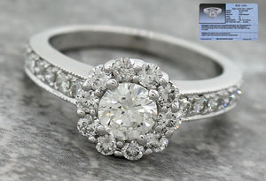 $5740 Modern Estate 14K White Gold Halo 1.50ctw Diamond Engagement Ring EGL USA