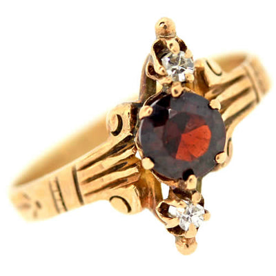 Antique Original Victorian C1880 14k Solid Yellow Gold Garnet Diamond Ring