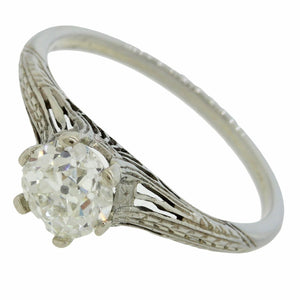 1920 Art Deco 18k White Gold .85ct Old European Diamond Filigree Engagement Ring