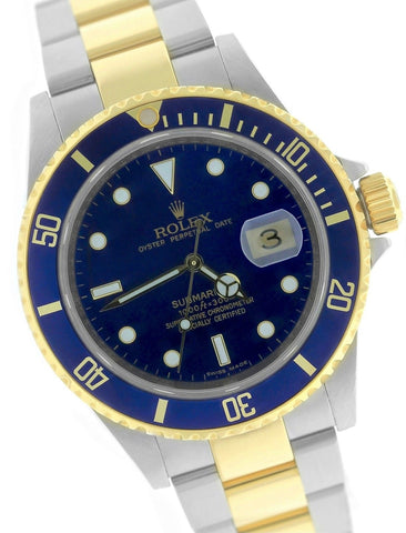 2010 ENGRAVED REHAUT Rolex Submariner Date 16613 T Two-Tone Gold Blue Dive Watch