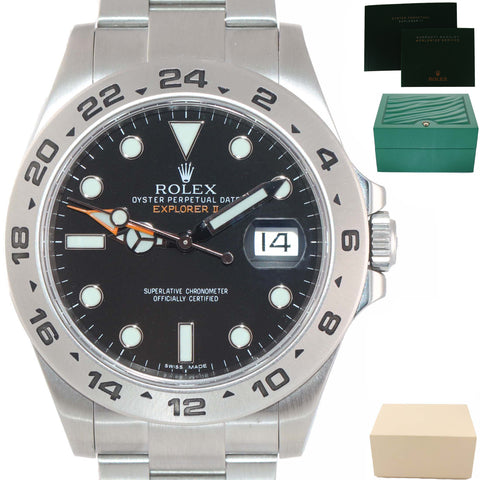 MINT 2019 Rolex Explorer II 42mm 216570 Black Dial Stainless Steel GMT Watch Box